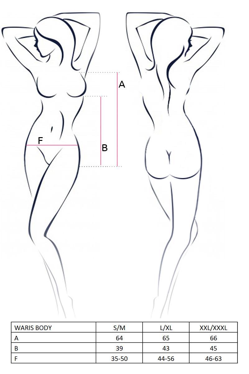 Body Waris in wetlook en fijn elastisch gaas.