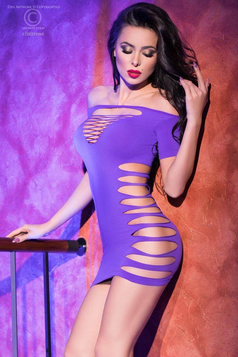 CHILIROSE Naadloos paarse mini jurkje
