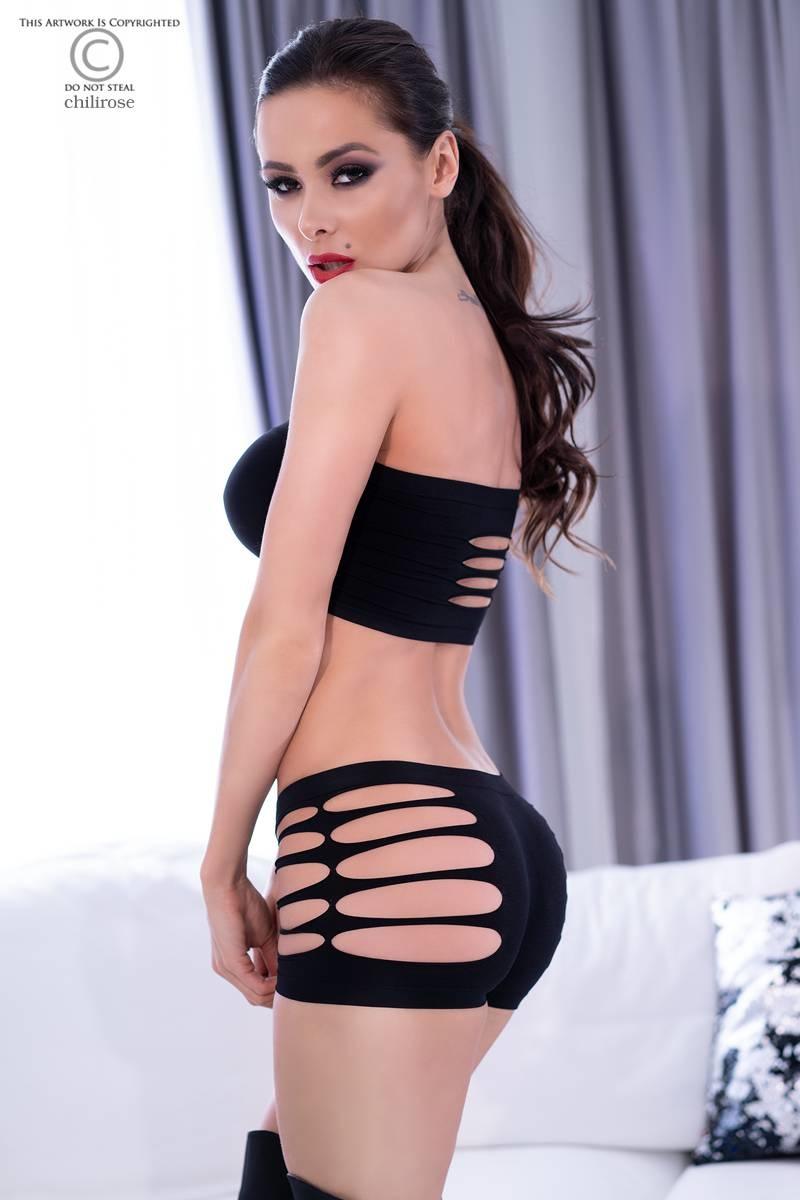 CHILIROSE Sexy set met splitjes in het zwart