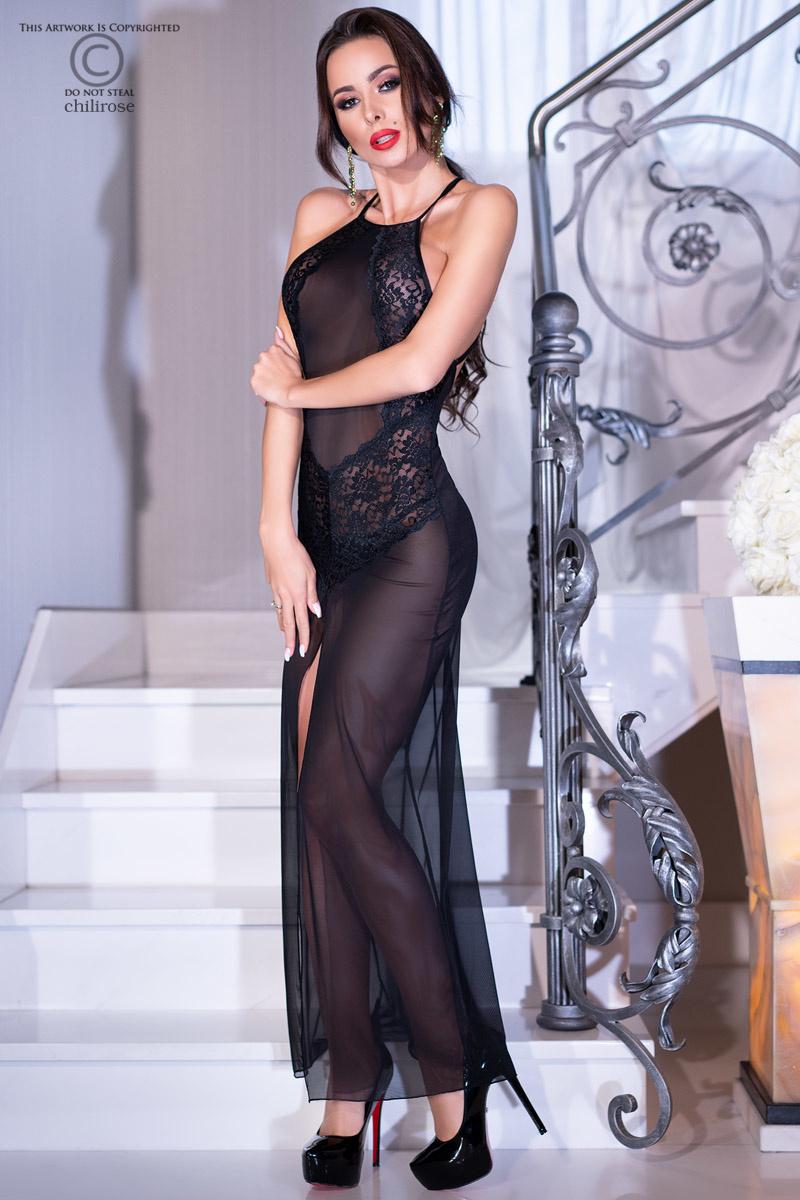 CHILIROSE Lange jurk van kant en transparante stof van Chilirose