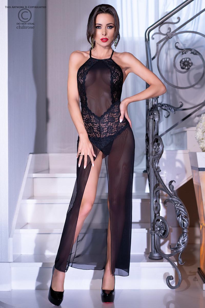 * CHILIROSE Lange jurk van kant en transparante stof van Chilirose