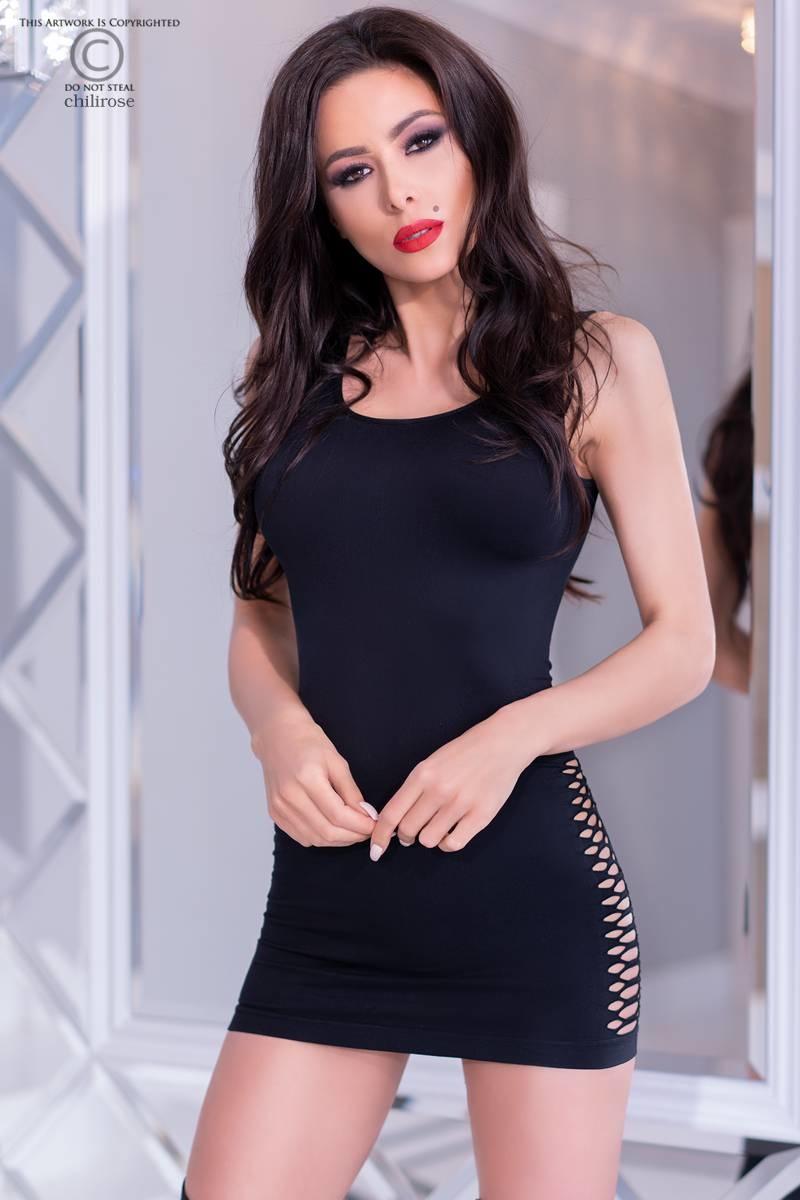 * CHILIROSE Zwart naadloze jurk CR4304-B van Chilirose