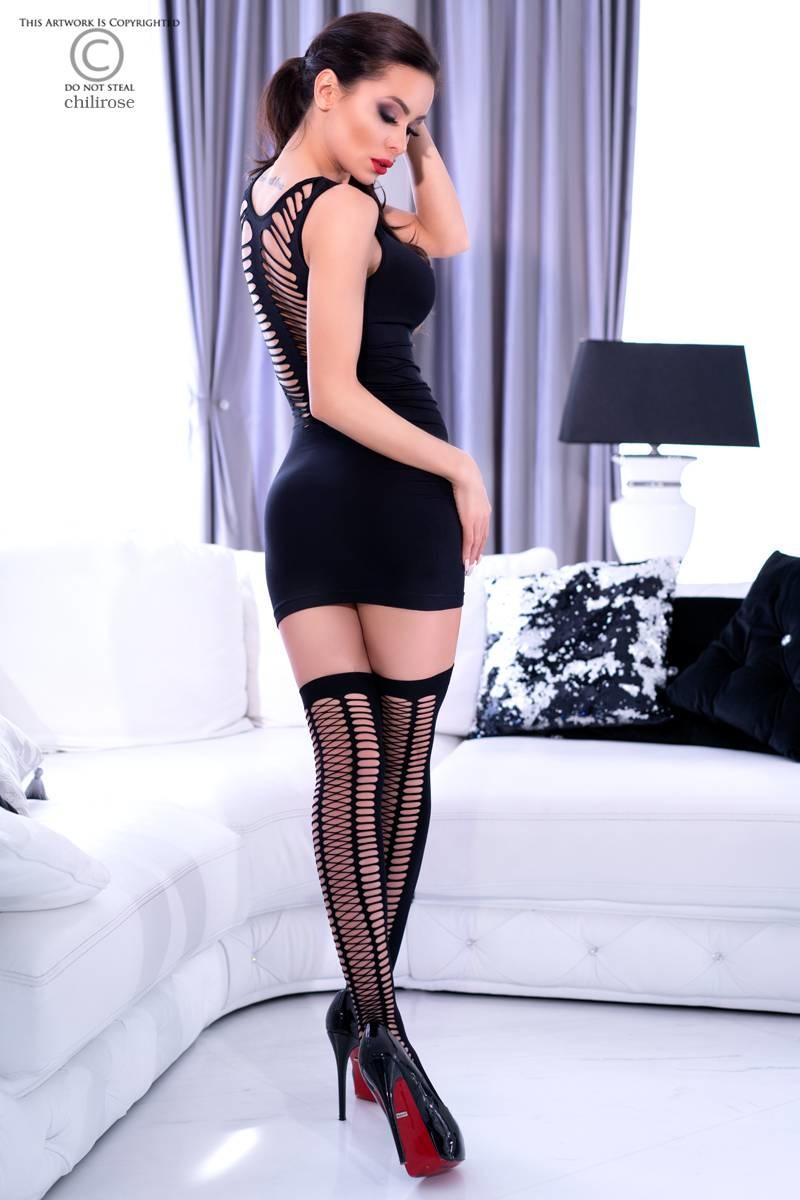* CHILIROSE Zwart strak mini-jurkje met  kousen  CR4305-B  van Chilirose