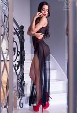 CHILIROSE Lange jurk van zwart rood kant en transparante stof van Chilirose