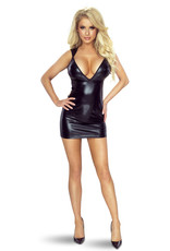 * PROVOCATIVE Sexy zwart wetlook jurkje van Provocative.