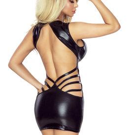 PROVOCATIVE Zwart wetlook jurkje