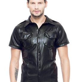 Code8 Zwart leren heren shirt met zwarte biezen