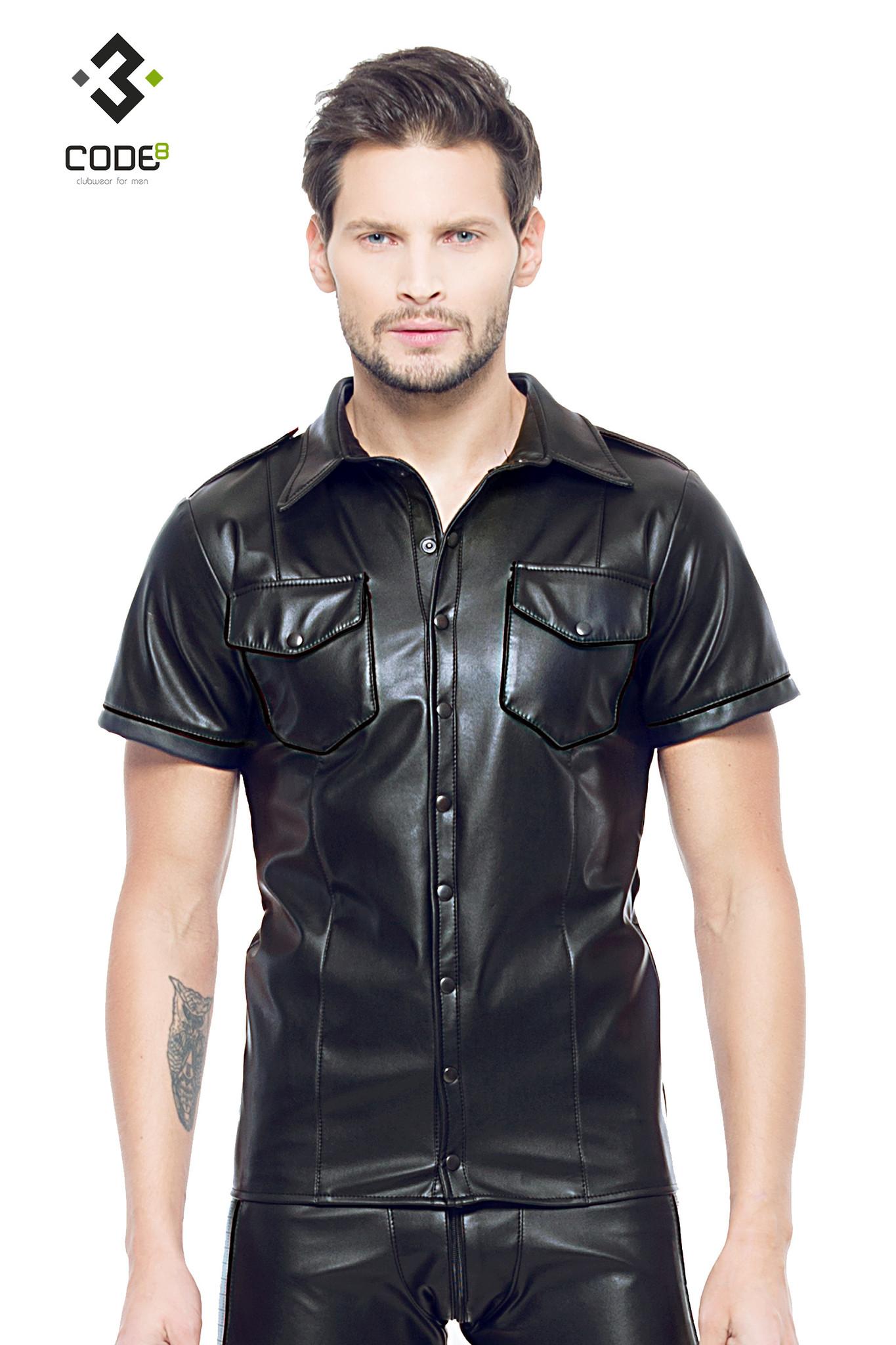 * Code8 by XXX COLLECTION Zwart leren heren shirt met zwarte biezen