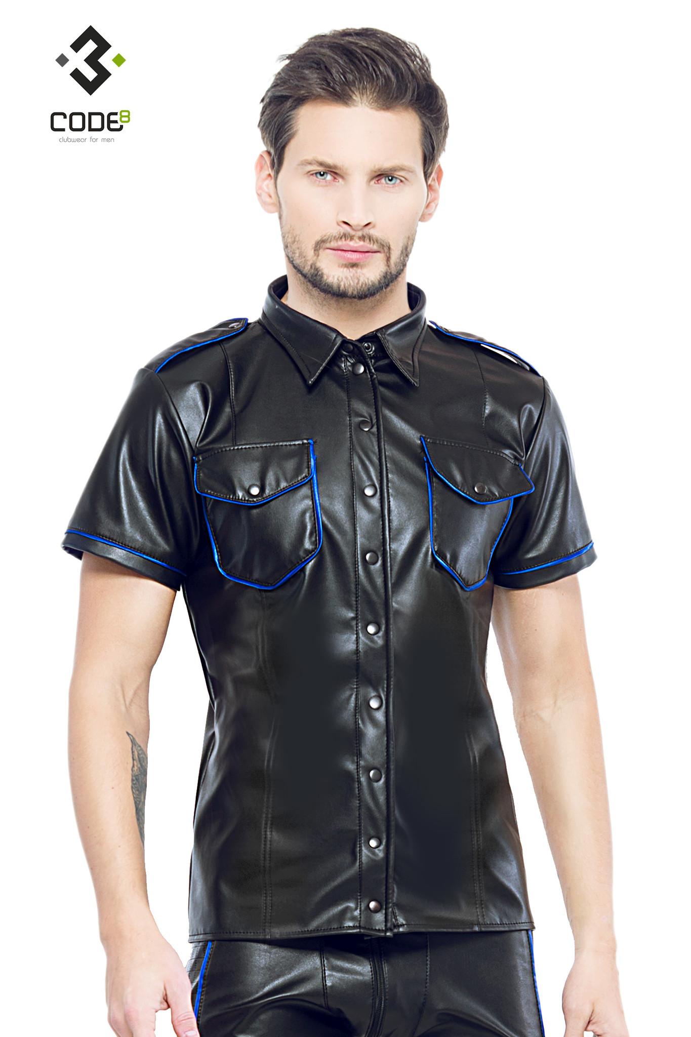 Code8 by XXX COLLECTION Shirt van hoge kwaliteit PU-Leer