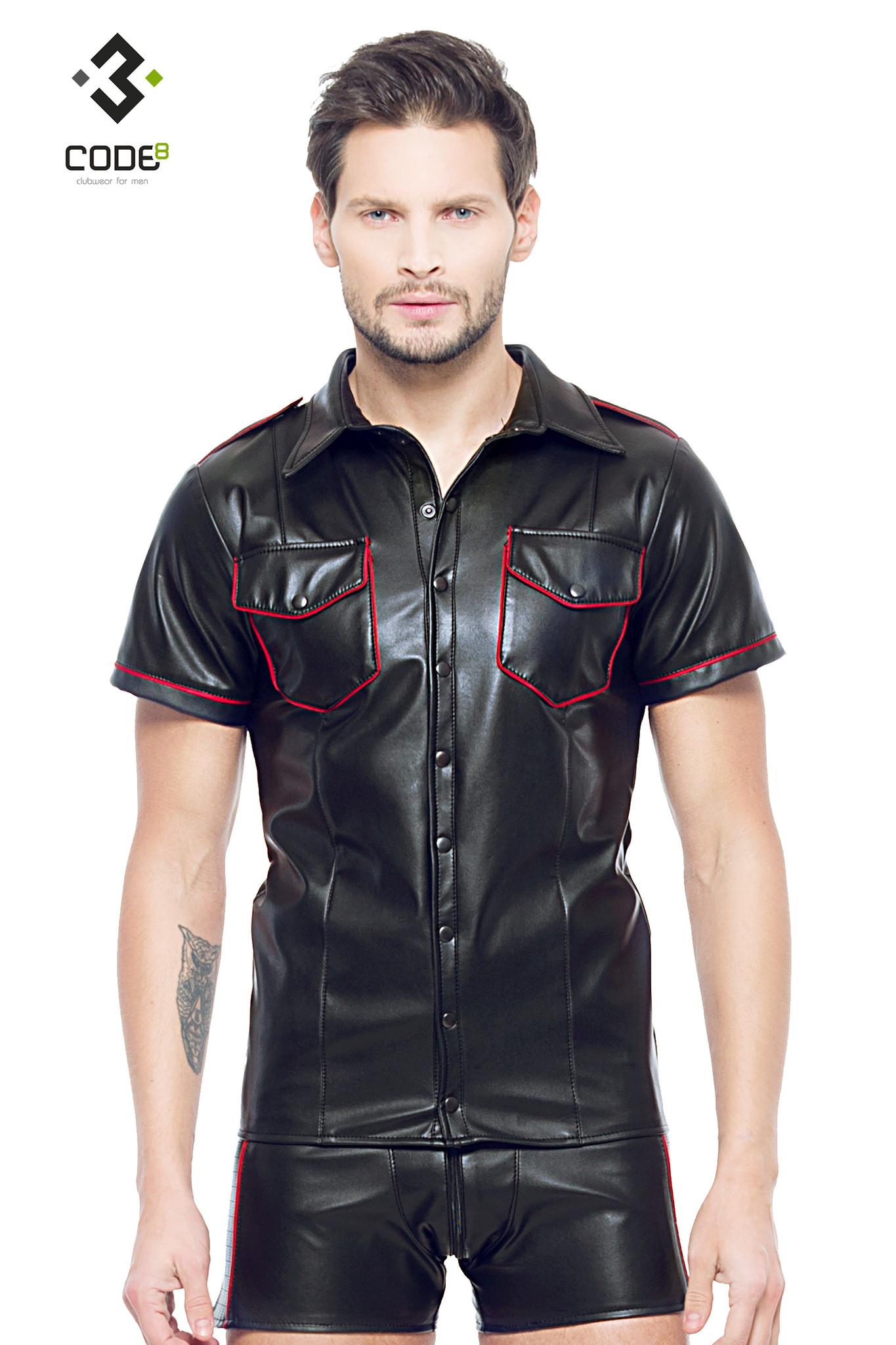 * Code8 by XXX COLLECTION Zwart leren heren shirt met rode biezen