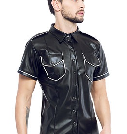 Code8 Zwart leren heren shirt met zilverbiezen