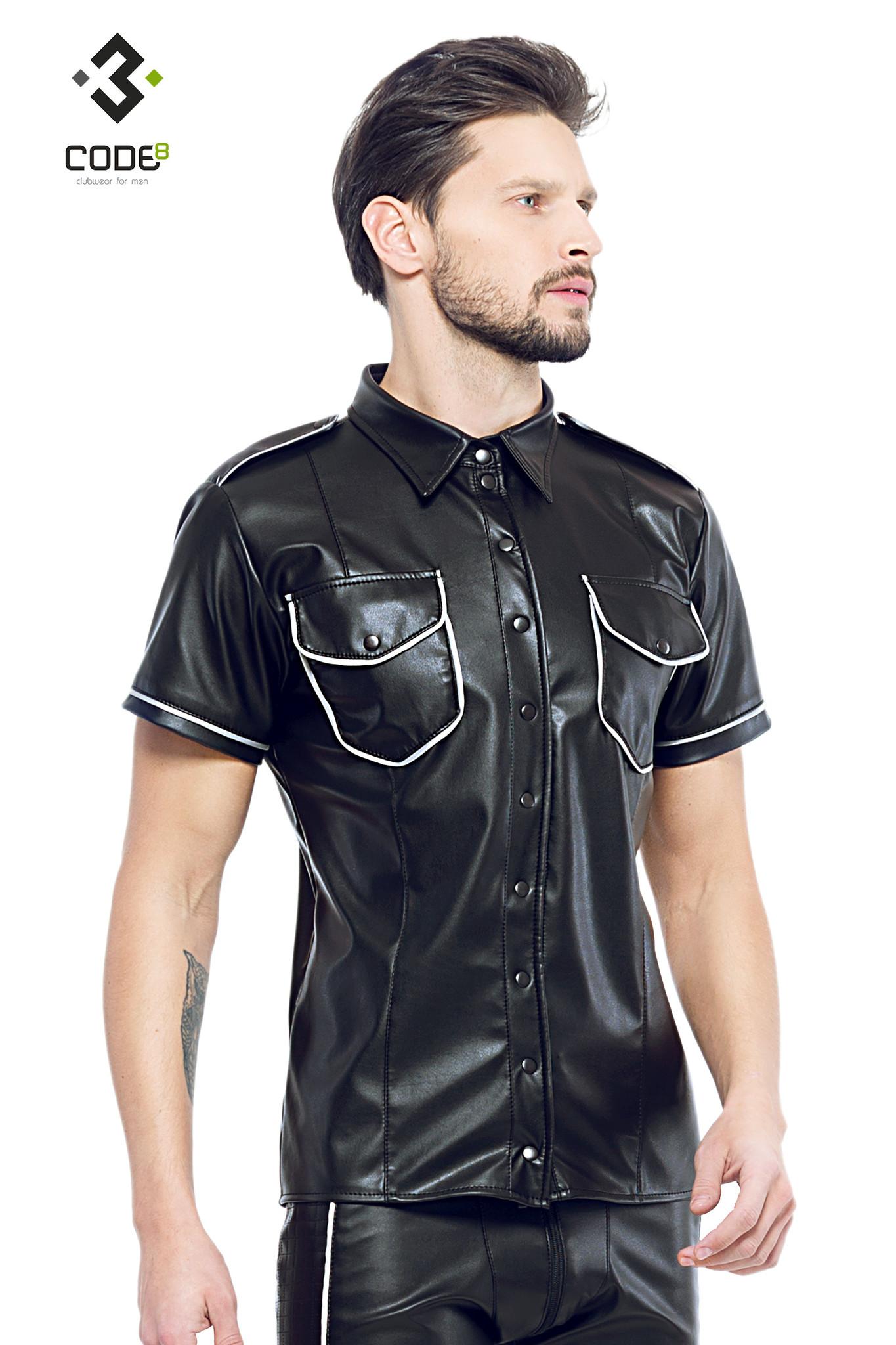 * Code8 by XXX COLLECTION Zwart leren heren shirt met zilver biezen