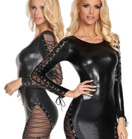 Zwart wetlook jurkje Carmen