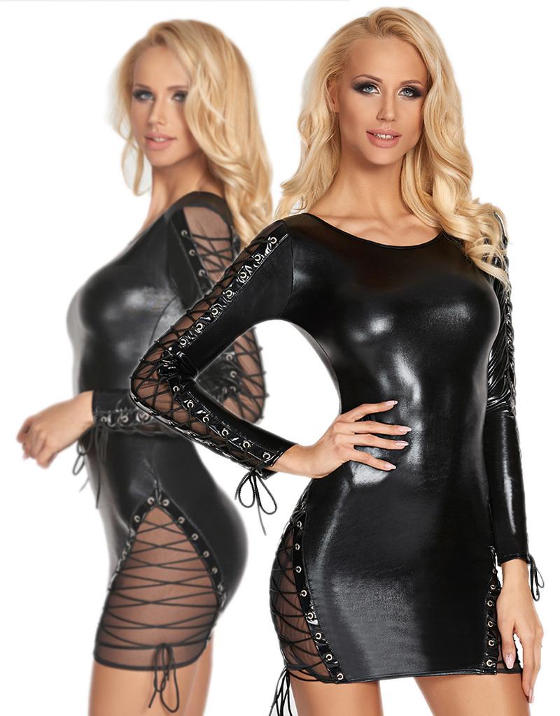 Zwart wetlook jurkje Carmen (2XL)