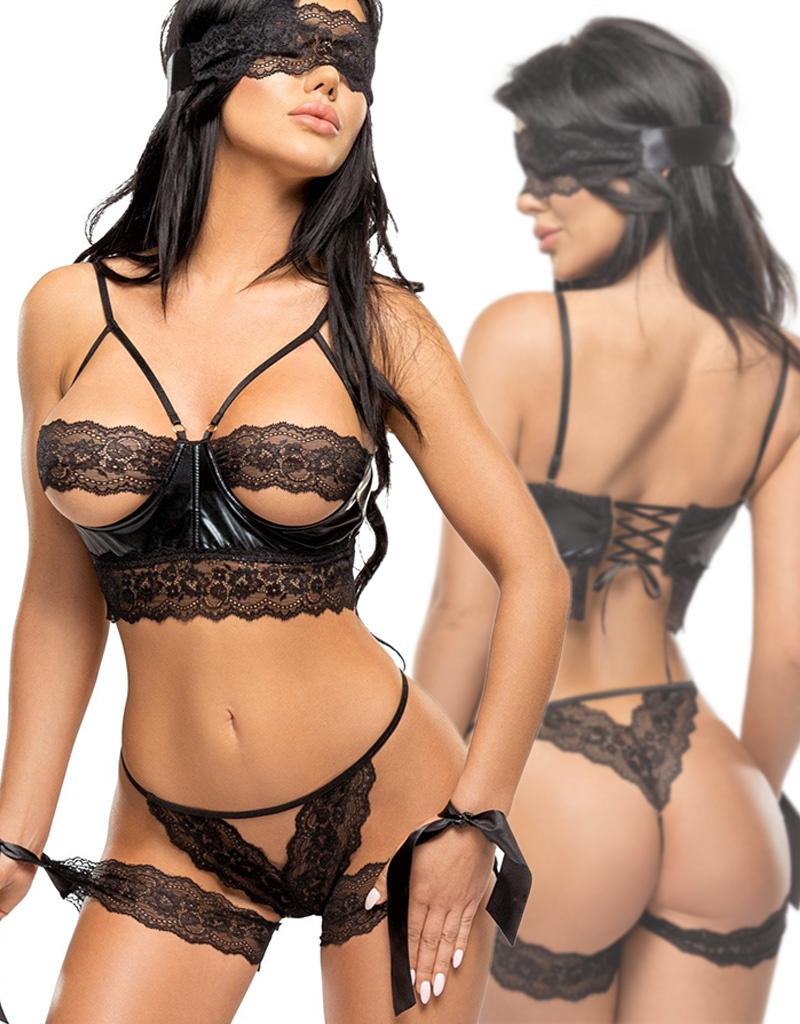 Sexy zwart 4-delige lingerie set