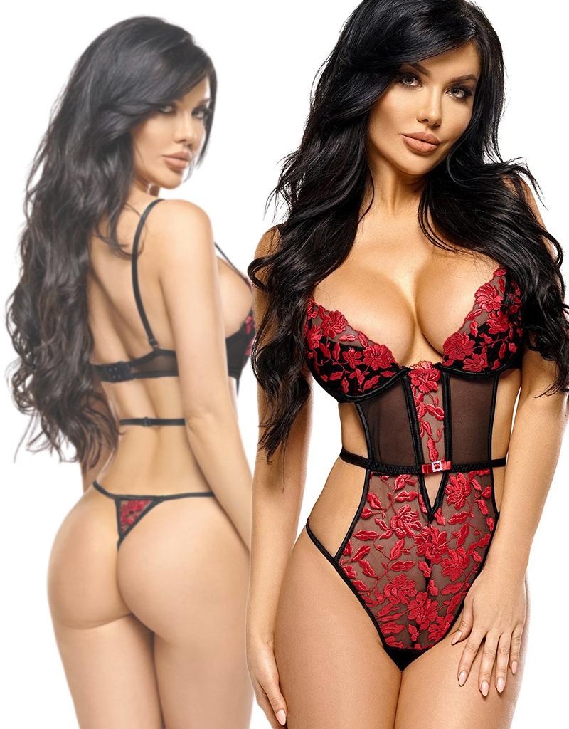 Sensueel string body Eva met rode bloemen