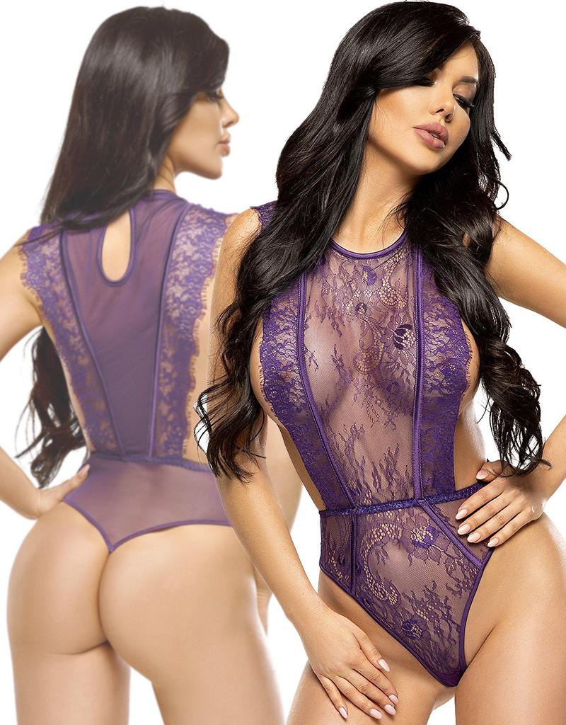 Paarse kanten string body Emilia