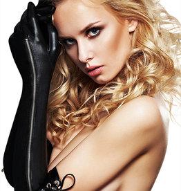 Zwarte wetlook handschoenen Emma