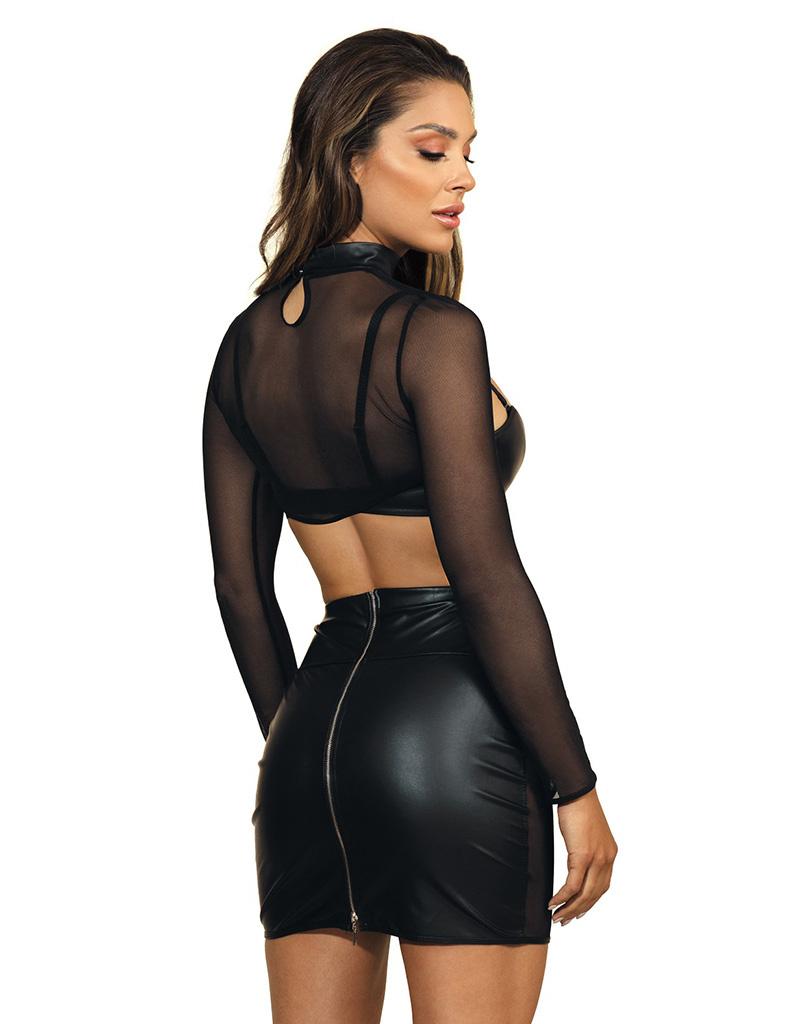 Sexy mini rokje  in combinatie van zacht tule en latex
