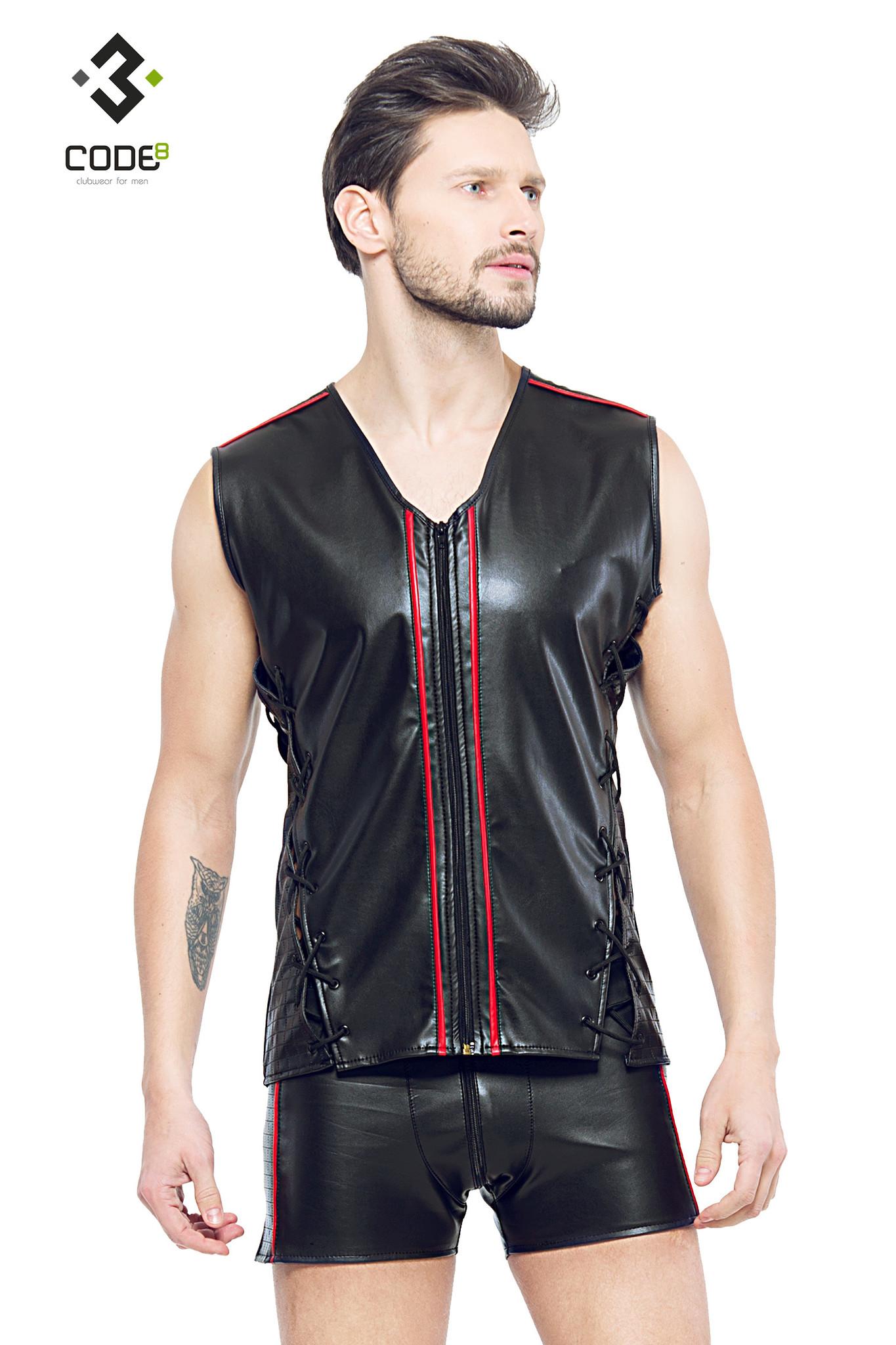 * Code8 by XXX COLLECTION Eco-leder mouwloos shirt met rood gekleurde biezen