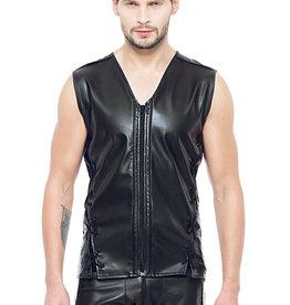 Code8 by XXX COLLECTION Eco-leder mouwloos shirt met zwart gekleurde biezen
