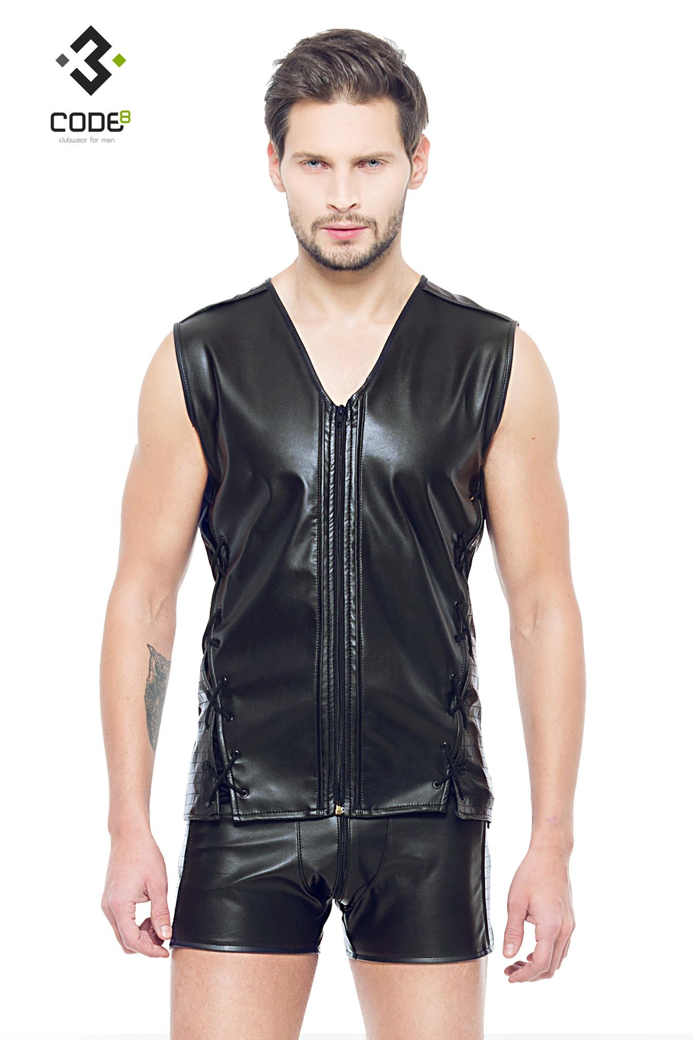 * Code8 by XXX COLLECTION Eco-leder mouwloos shirt met zwart gekleurde biezen