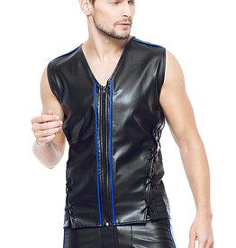 * Code8 by XXX COLLECTION Eco-leder mouwloos shirt met blauw gekleurde biezen
