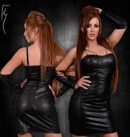 * SOLEIL  by XXX COLLECTION Zwart leren jurk met zwarte banen aan de zijkant