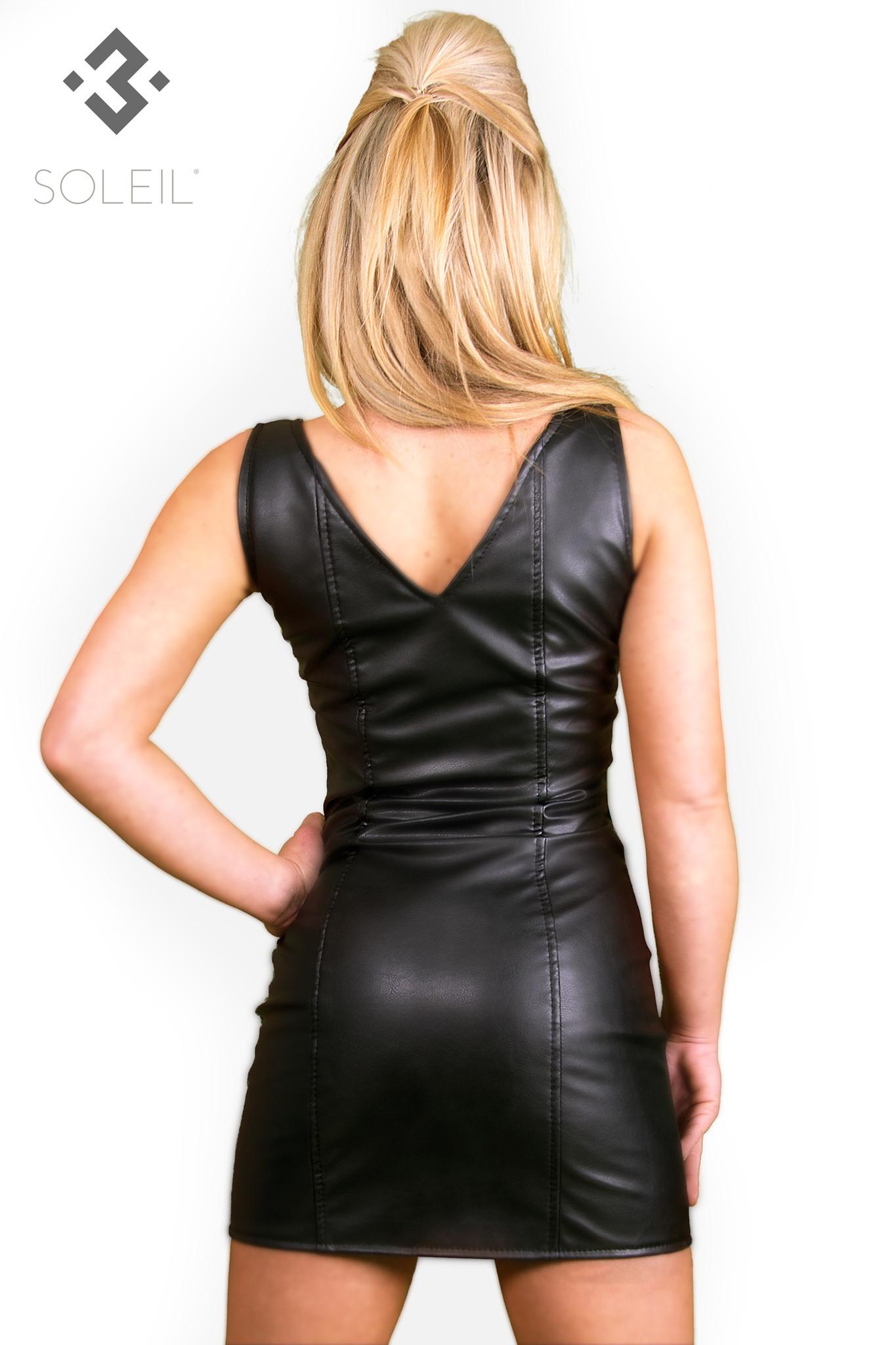 SOLEIL  by XXX COLLECTION Zwarte leren getailleerde jurk met rits en transparante zijkanten