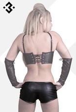 * SOLEIL  by XXX COLLECTION Zwart leren hotpants met vetersluiting
