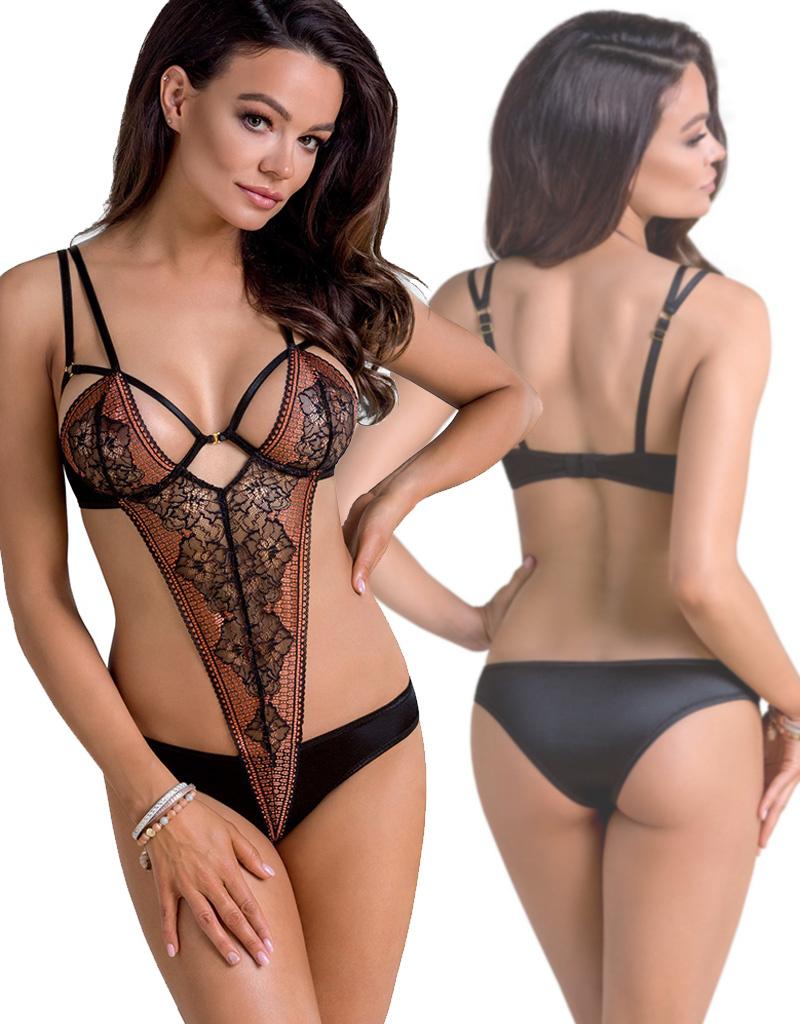 Sensuele en elegante zwart koperkleurige kanten body Mirielle