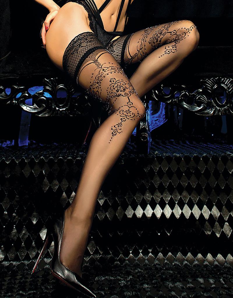 Verleidelijke zwarte  hold-up kousen Veronique met swirly patroon