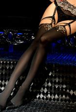 Verleidelijke zwarte hold-up kousen Rosalynn met verbazingwekkende gouden details