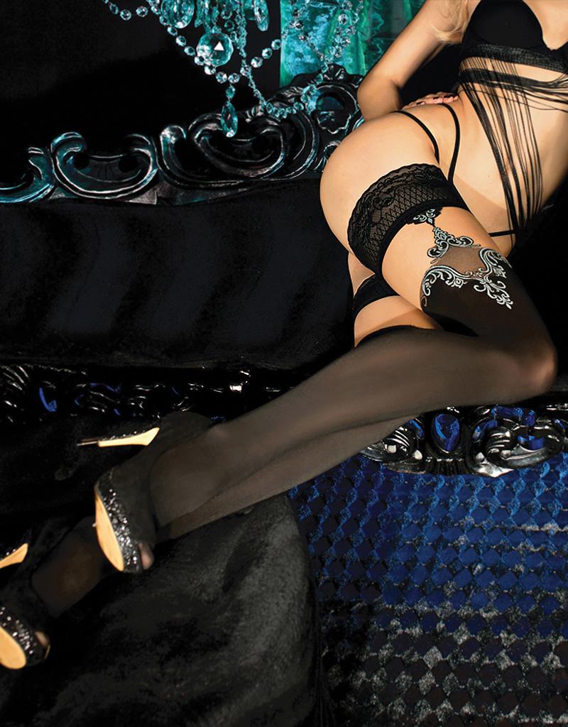 Verleidelijke zwarte hold-up kousen Jesslyn met grijs borduursel