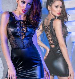 * CHILIROSE Zwarte wetlook jurk met kant