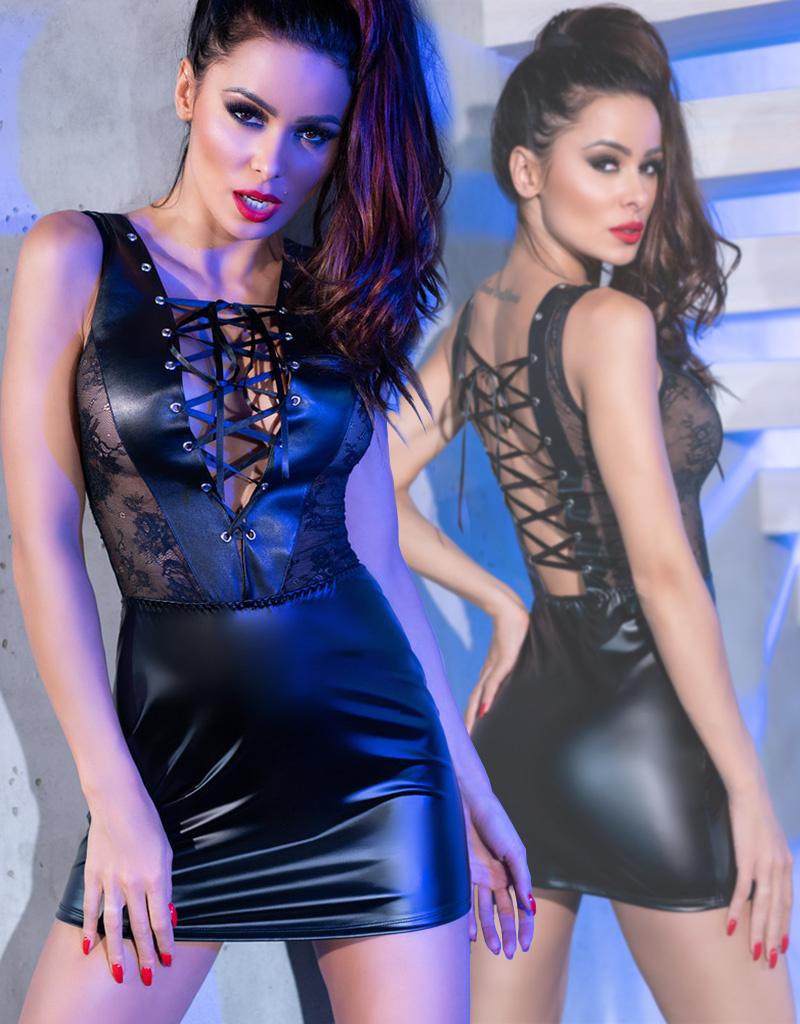 CHILIROSE Zwarte wetlook jurk met verleidelijke veter van Chilirose