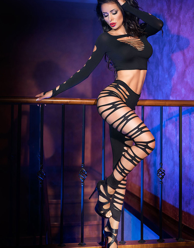 * CHILIROSE Sexy zwarte top met legging