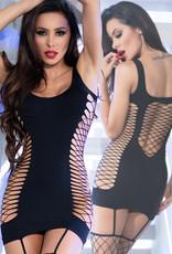 CHILIROSE Zwart strak mini-jurkje met  netkousen  CR4336-B  van Chilirose