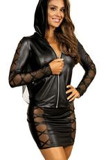 Sexy hoodie in combinatie van zacht tule en latexachtig materiaal