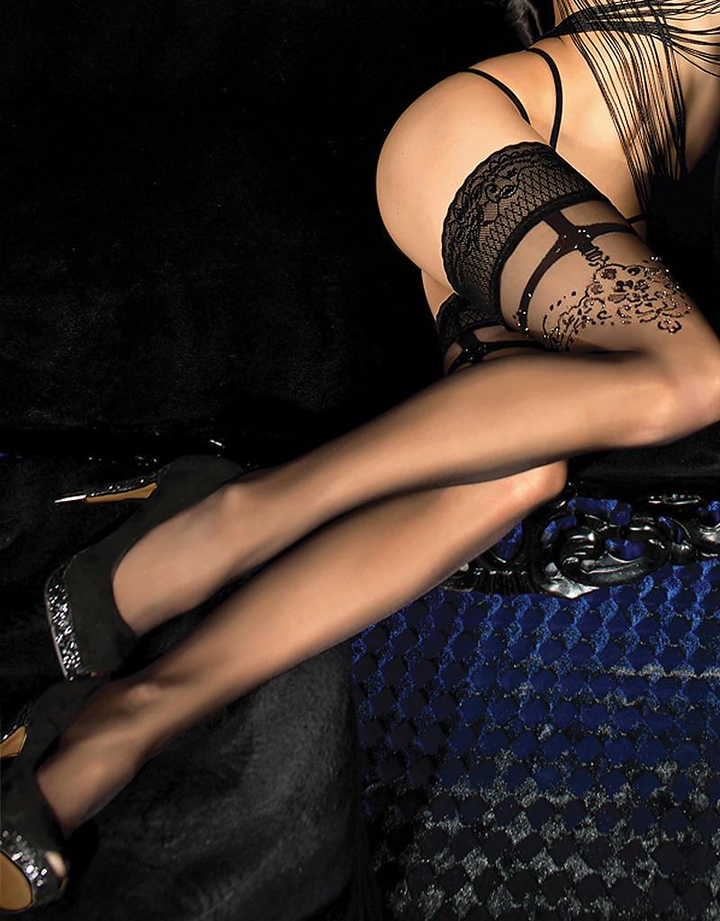 Verleidelijke zwarte hold-up kousen Jezzebell met verbazingwekkende  details.