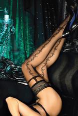Verleidelijke zwarte  hold-up kousen Chantelle met swirly patroon