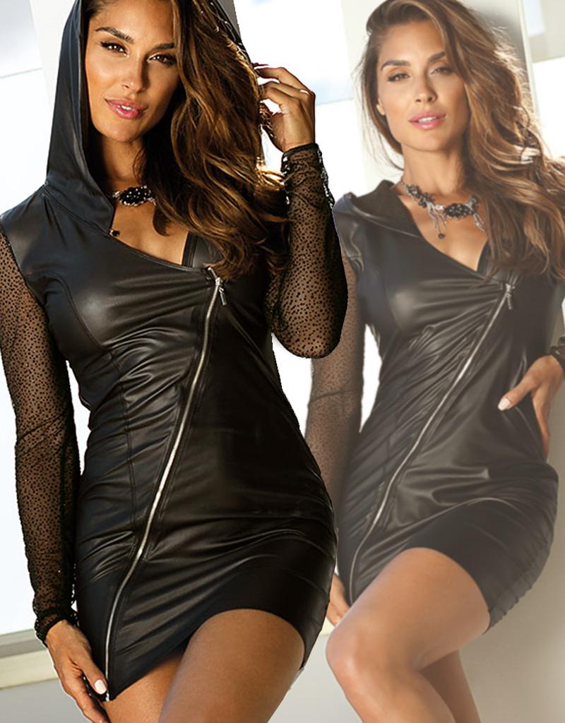 Sexy jurkje in combinatie van zacht tule en latexachtig materiaal