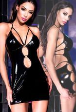 * CHILIROSE Latex-look mini jurk met diep decolleté