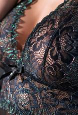 * CHILIROSE Verleidelijke zwarte Babydoll met zilverkleurige draad details van Chilirose