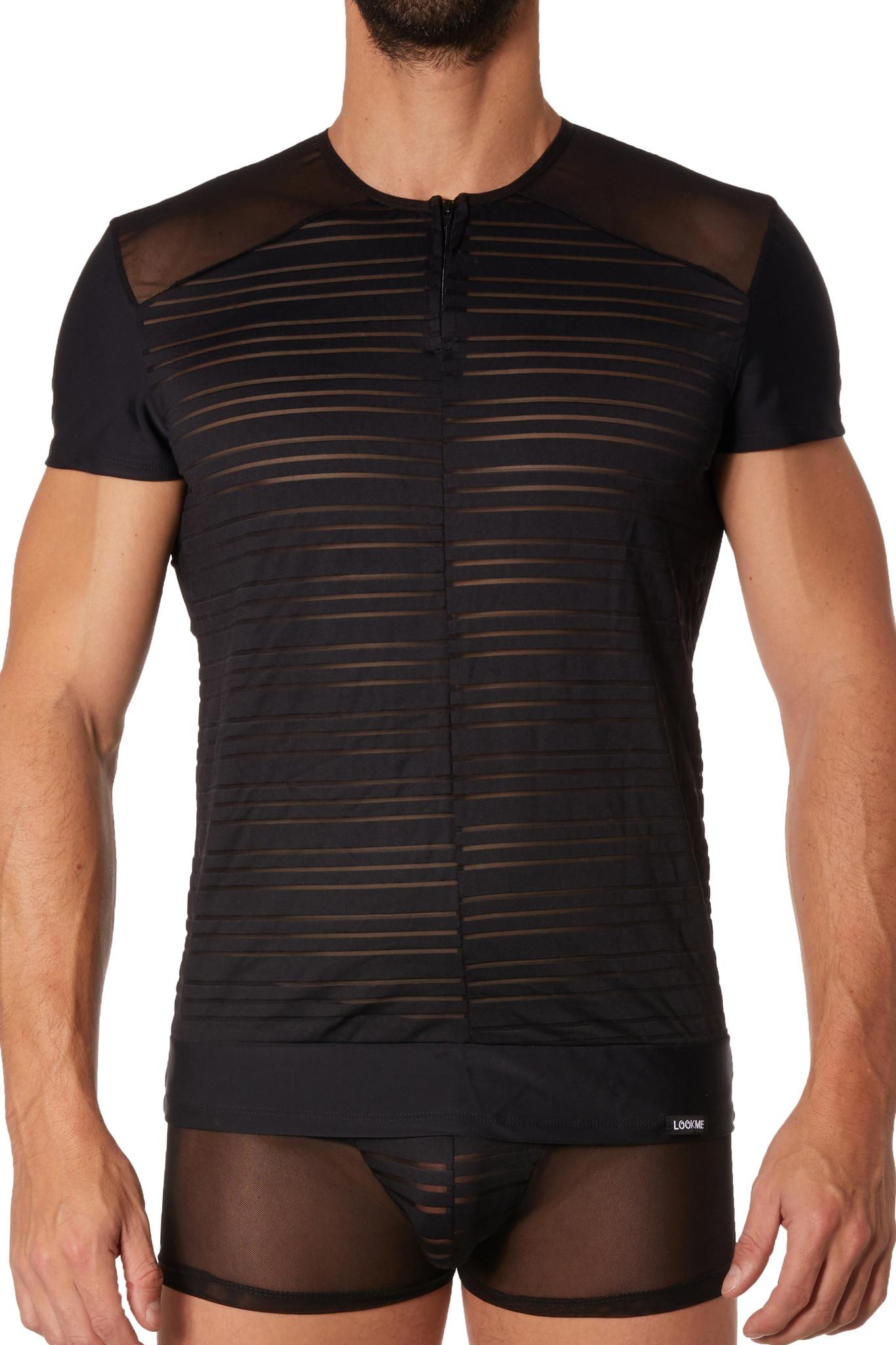 Tulle heren Shirt met doorzichtige en ondoorzichtige stof en rits aan de voorkant.