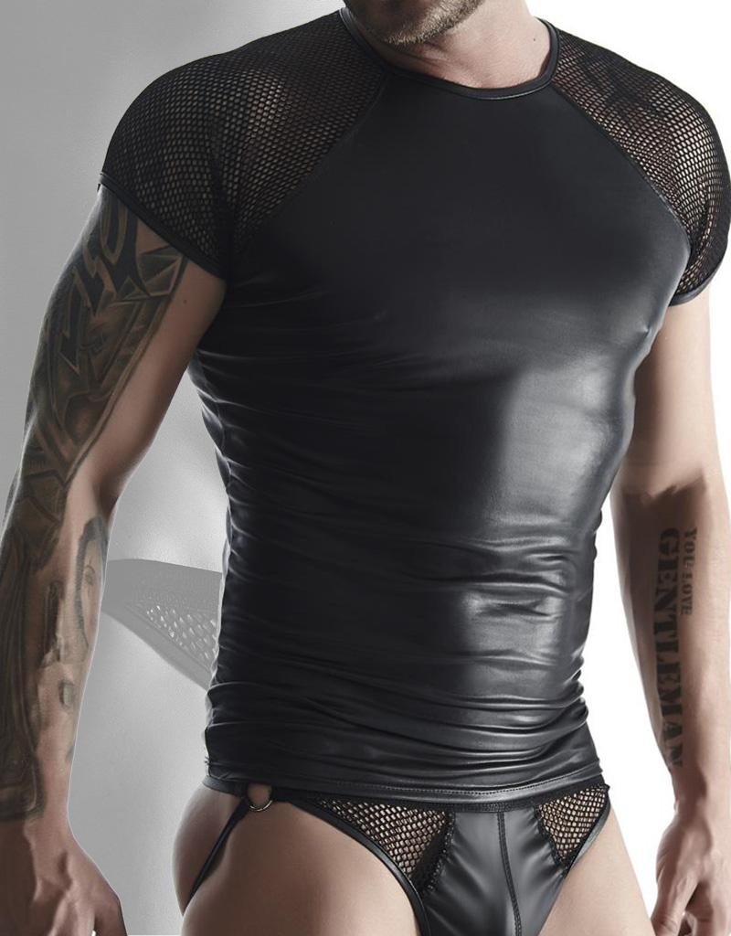 Wetlook heren Shirt met mesh mouwen.