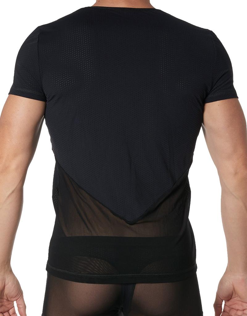 Tulle heren Shirt in combinatie met elastische zwarte stof  van het merk Look Me