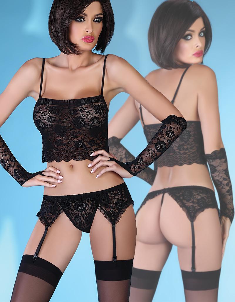 * LIVCO CORSETTI Zwarte 4-delige lingerie set, Modesta Black