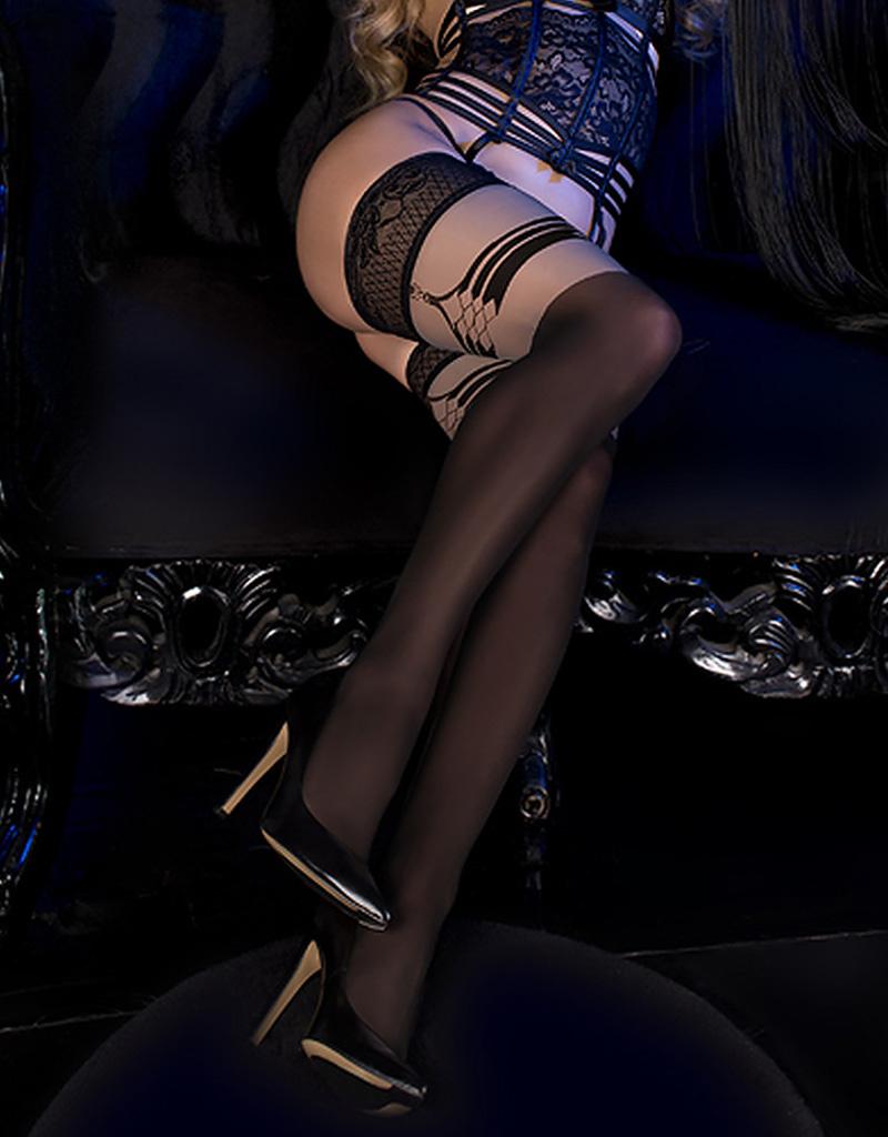 Verleidelijke zwarte hold-up kousen Maribelle van bijzonder kwaliteit