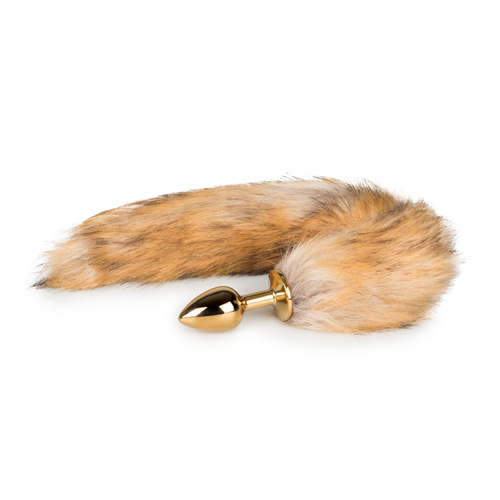 Kleine goudkleurige buttplug met vossenstaart